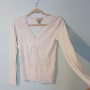 White Cotton Eyelet Pointelle Long Sleeve Tshirt